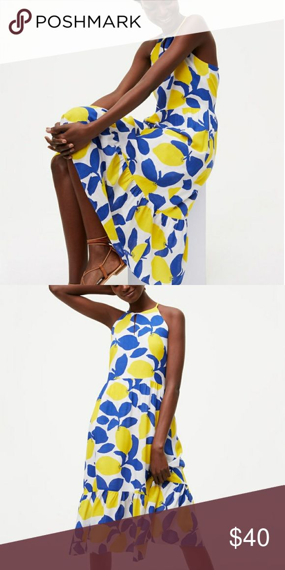 NWT Loft Lemonade Halter Dress, Size 6. Light and floaty summer dress with bright blue and yellow lemon print. Keyhole at neck with halter style neckline. Cotton blend, and airy, but lined. Invisible back zip. New with tags. Size 6. LOFT Dresses