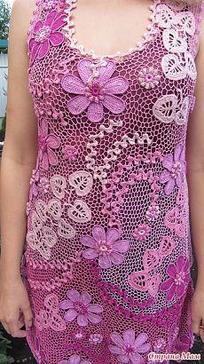 """*Платье """"Розовый зефир"""" или учусь ирландскому кружеву. - Все в ажуре... (вязание крючком) - Страна Мам"""
