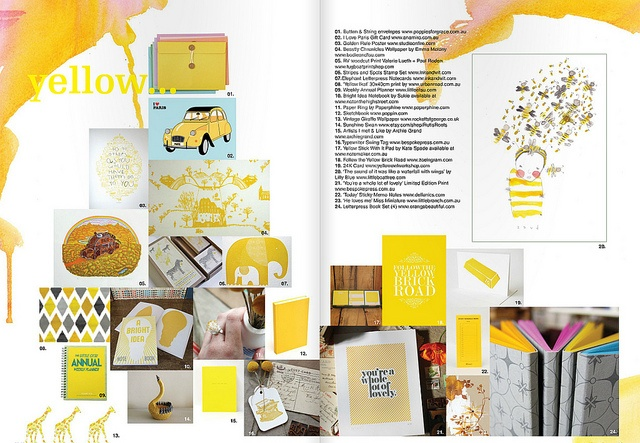 yellow magazine graphic layout