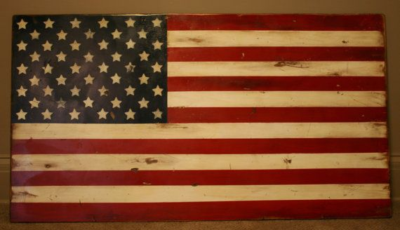 American Flag Rustic Hand Painted Wood By