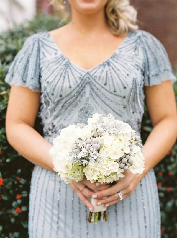 Dusty blue beaded dress