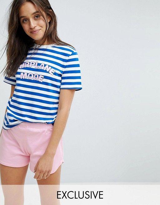 Adolescent Clothing Airplane Mode Short Pajama Set