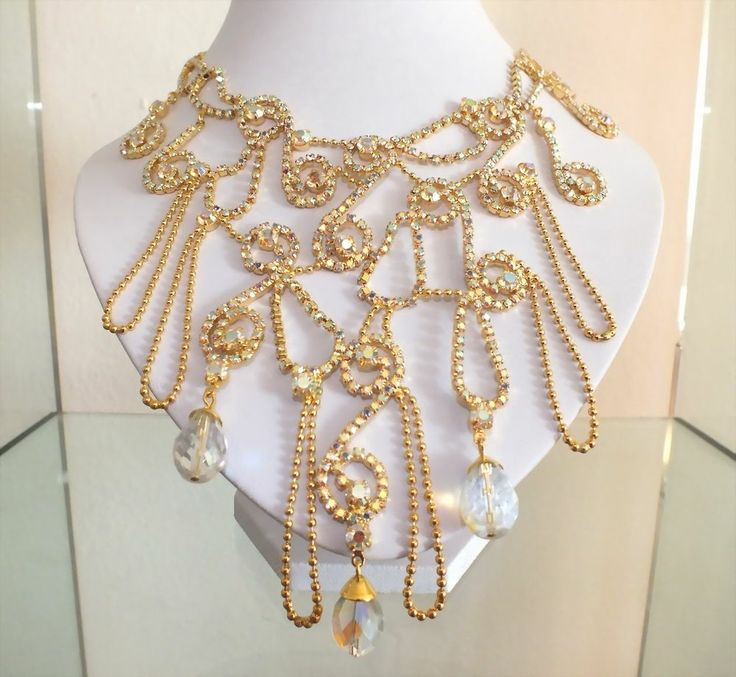 Gorgeous Rhinestone Necklace w/Glass Beads | Strass Collier mit Glasperlen - Crystal AB - Exklusivmodell von JABLONEX - sc250