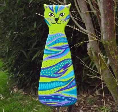 """Garten- & Pflanzenstecker - Gartenstecker """"Katze blaugrünlila"""" - ein Designerstück von KIMAMA-design-Andrea-Abraham bei DaWanda"""