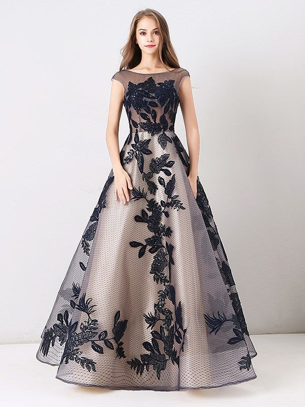 f405e2387438 A-Line Appliques Lace Beteau Long Evening Dress 2019 in 2019 ...