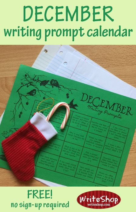 December writing prompt calendar for elementary grades • free from WriteShop