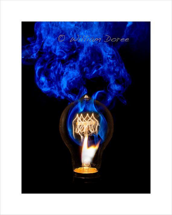 Burning Idea 7 Vintage light bulb match art print wall decor abstract photography