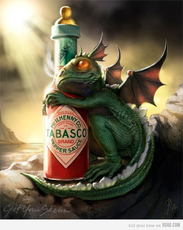 Dragon loveHot Stuff, Fairies, Fantasy Art, Funny, Tabasco, Baby Dragons, Things, Baby Bottle, Hot Sauces
