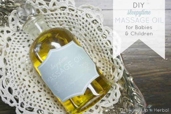 DIY: Sleepytime Massage Oil For Babies and Children | GrowingUpHerbal.com | Make an herbal night time massage oil to sooth your little one o...