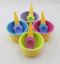 Compotera helado de plastico con cuchara helado