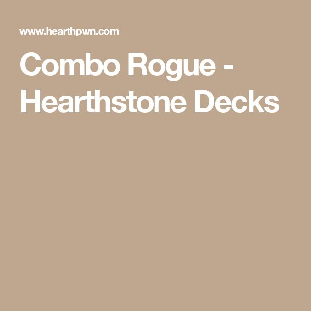 Combo Rogue - Hearthstone Decks