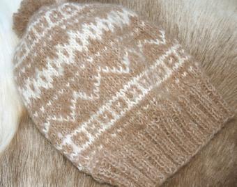 Light brown alpaca beanie
