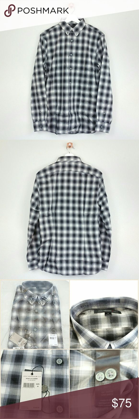 JOHN VARVATOS STAR USA checkered sportshirt Button-down collar. Button closure. Long sleeve. Checkered-plaid print throughout. Chest patch pocket.  Rolled tab sleeve. Barrel cuffs w/ double button closures. Curved hem. Tonal top stitching & panel seaming.  Fabric: 100% cotton.  Size: M Collor: dark grey-light grey-white plaid checkered.  NWT. Never worn. Can provide more pictures and info upon request. Reasonable offer only please :) John Varvatos Shirts Casual Button Down Shirts