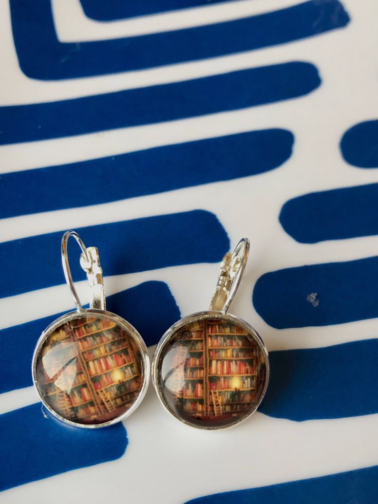 Handmade bookshelves glass cabochon earrings - 16mm by MamaPandasByShannon on Etsy https://www.etsy.com/listing/580935958/handmade-bookshelves-glass-cabochon