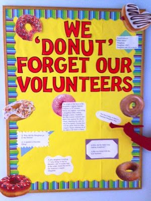 Volunteer Celebration: Donut Week at DuPage Children's Museum...  The kick-off to our summer celebration of our wonderful volunteers was Donut Week, June 2-8, 2013. Our interns, Marlee and Rachel, set up a fun bulletin board with jokes and donut related facts and of course tasty donuts for our volunteers all week long. Friday, June 7 was actually National Donut Day and volunteers enthusiastically celebrated.