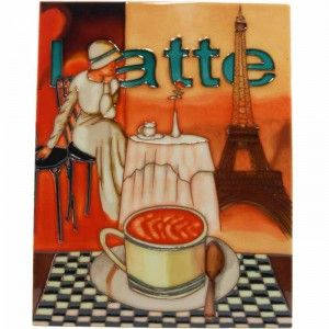 Ceramic Art Tile - Latte at the Eiffel Tower. Vibrant coloured tile with a mdf timber backing in which is embedded a wall mounting ring.