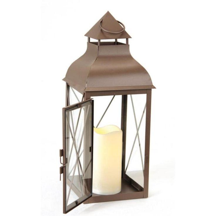 16.75 Cottage Style Metallic Brown Lantern with Flameless LED Pillar Candle (Iron)