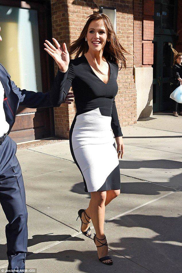 Yummy mummy: Jennifer Garner steps out in a black and white Roland Mouret dress with strap...