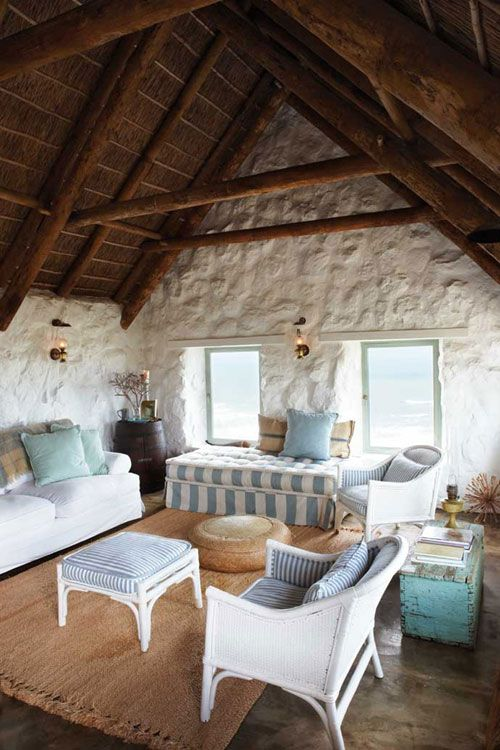love the ottoman in the back; a rustic beach cottage near paternoster, south africa
