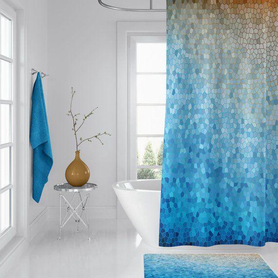 Artistic Shower Curtain Sunny Day Curtain Blue Yellow Ocean