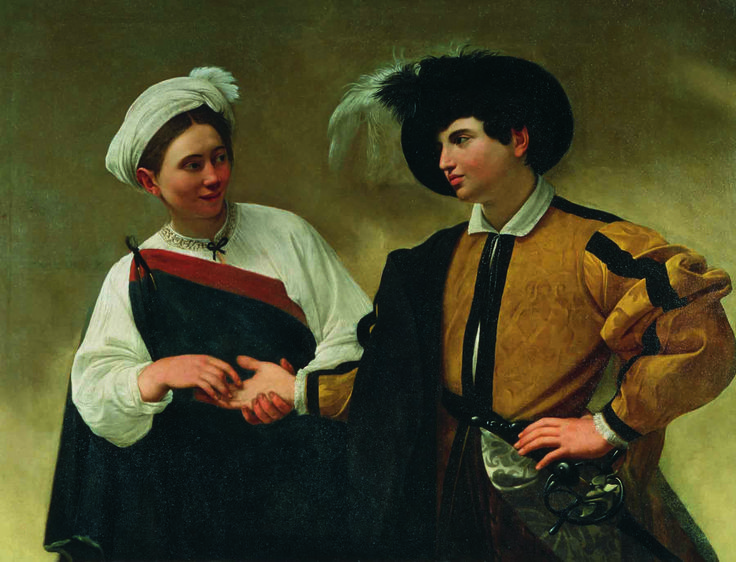 The Gypsy Fortune Teller (c. 1595) is one of the canvases originally owned by Caravaggio's first patron, Cardinal Francisco del Monte.