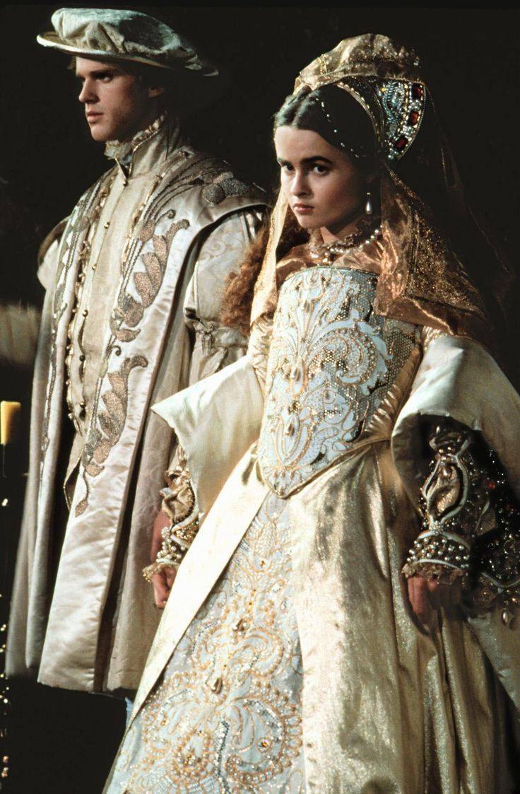 Guilford Dudley (Cary Elwes) & Lady Jane Grey (Helena Bonham Carter) in Lady Jane, 1986 Costume designers Sue Blane and David Perry