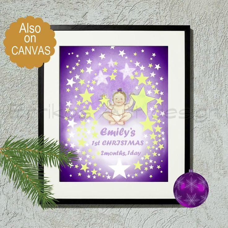 Nursery Art, Baby's First Christmas, Nursery decor, Personalized, Art Print, baby girl nursery, Purple, Nursery Wall Art, Nursery Prints
