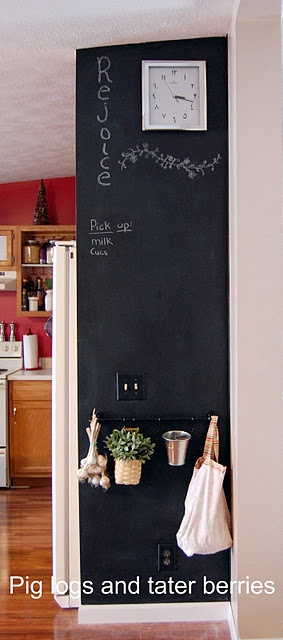 Love this use of a small wall area in the kitchen for a chalkboard