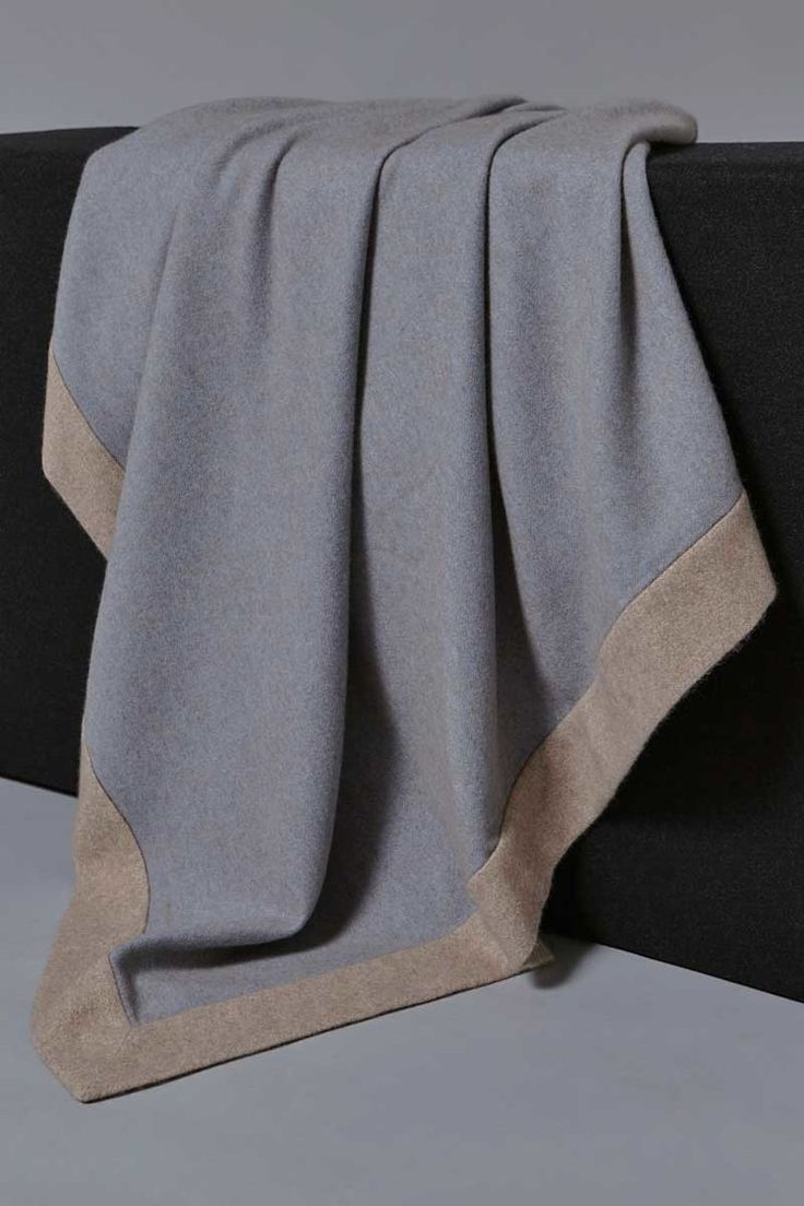 Etra Cashmere Throw in Blue/Taupe with Melange Taupe