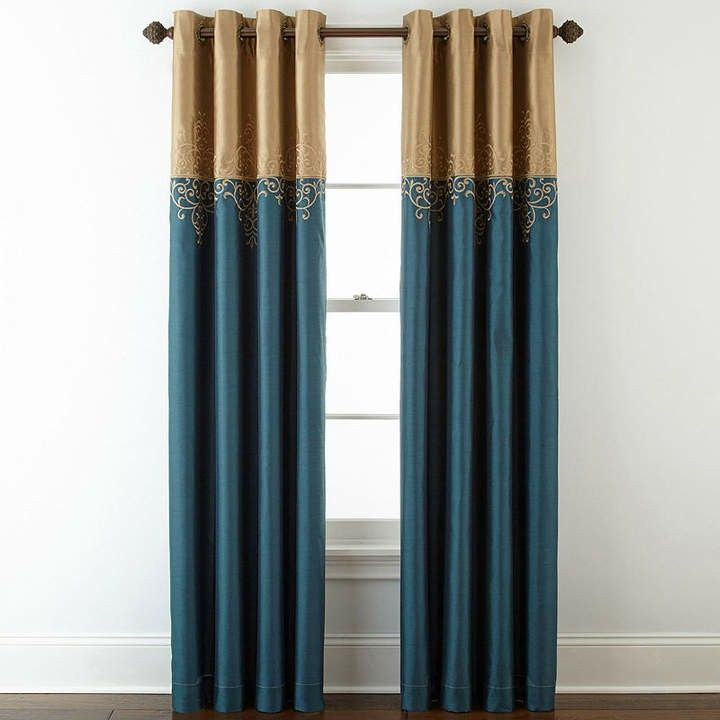 These Gold And Teal Curtains Are Beautiful The Perfect Pop Of Color For A Modern Living Room Or Dinning Room A Grommet Top Curtains Luxury Curtains Curtains