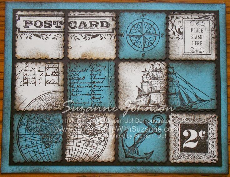 STAMPIN' UP!  POSTCARD & POSTAGE DUE C.A.S.E. NAUTICAL VERSION WITH OPEN SEA  in Lost Lagoon  In Color  by Suzanne Johnson at www.gottastampwithsuzanne.com