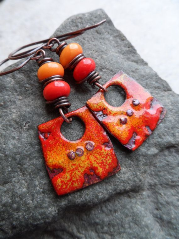 Hot Stuff ... Enameled Copper, Lampwork and Copper Wire-Wrapped Rustic, Bright, Boho Earrings