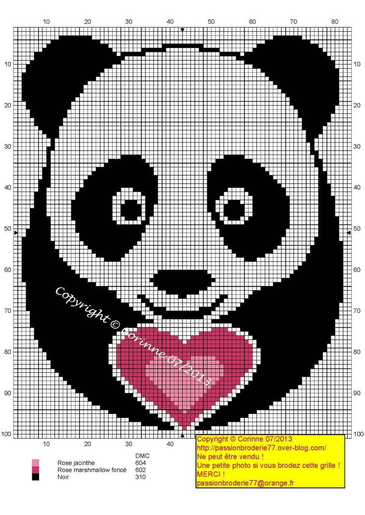Panda coeur (Panda with a heart), designed by Corinne Thulmeaux, Passion Broderie 77 blogger.
