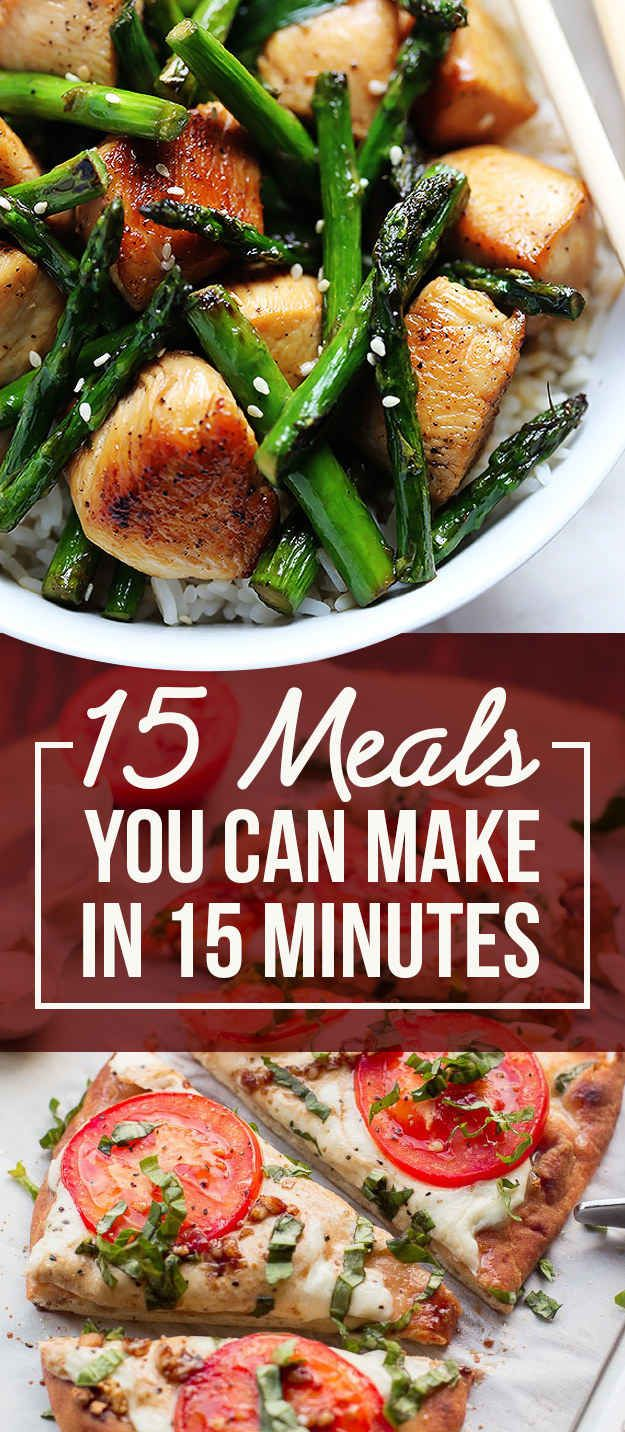 Here Are 15 Meals You Can Make In 15 Minutes http://www.buzzfeed.com/melissaharrison/15-minute-dinners?bffb&utm_term=4ldqpgp#4ldqpgp