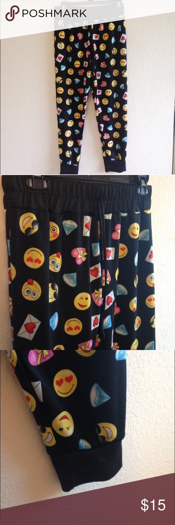 Emoji Jogger Pants Emoji jogger pants!!these are super adorable and comfy!!  #joggers #sweatpants #emoji #forever21 #dance #athleticwear #athletic #lululemon #pink #vspink #sale #clearance #oldnavy #gap #hm #pants #jeans #shorts #dress #skirt #fashion #cute Pants Track Pants & Joggers