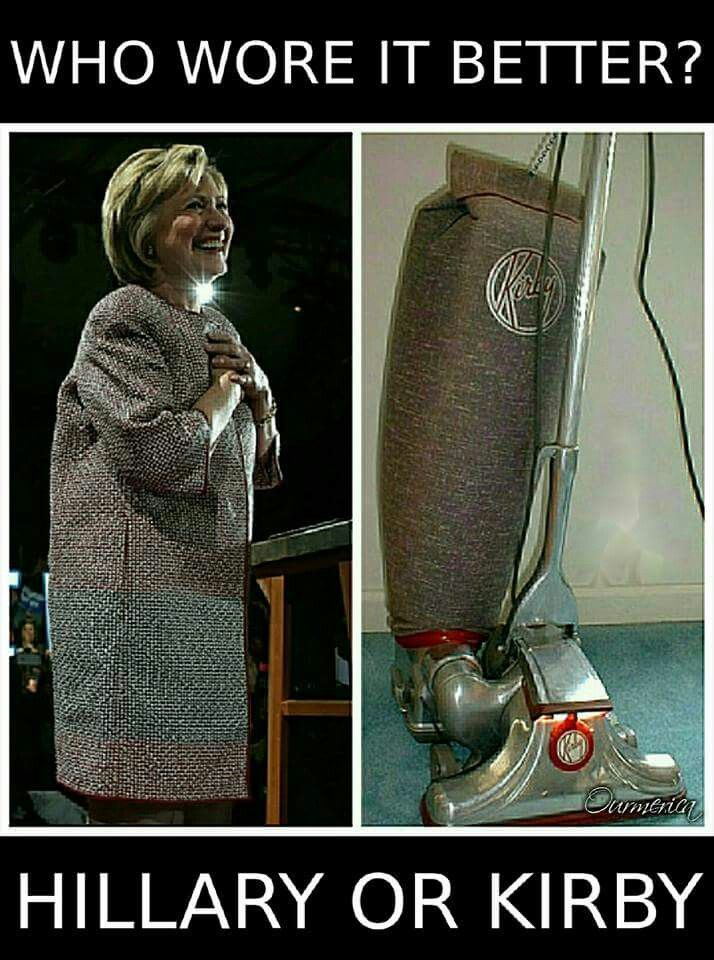 I feel like Kirby did better but Hillary looks pretty good in the thing that holds the things I dropped on the floor.