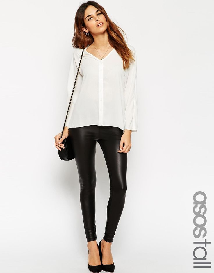 ASOS TALL Leather Look Leggings with Elastic Slim Waist - UK Size 8