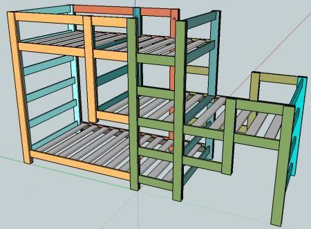 DIY Furniture : DIY Triple Bunk Staggered Beds