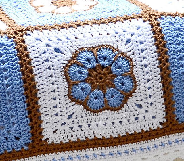 Ravelry: labullard's African Flower Afghan with notes