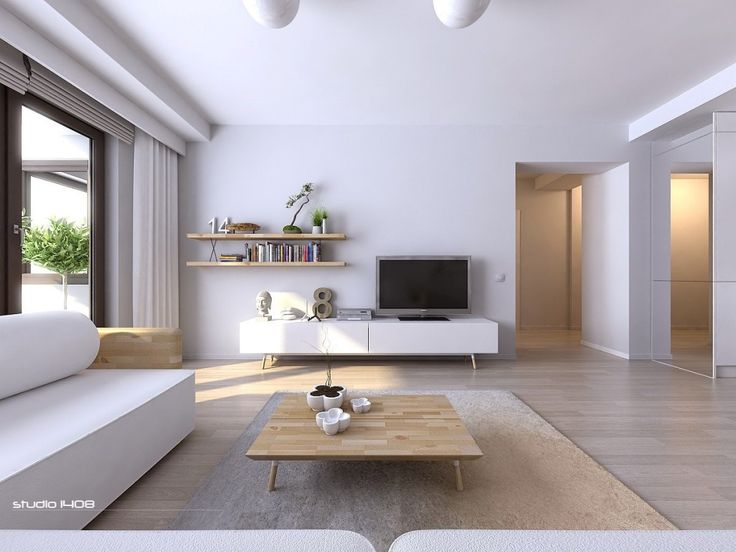 Apartment: Clean White Apartment Design With Freestanding Storage Tv Unit Floating Shelves And White Wall Design: Simple Modern Apartment Interior Design with Minimalist Look