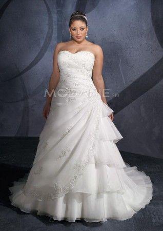 Traîne chapelle robe de mariée grande taille  empire  organza  longueur au sol
