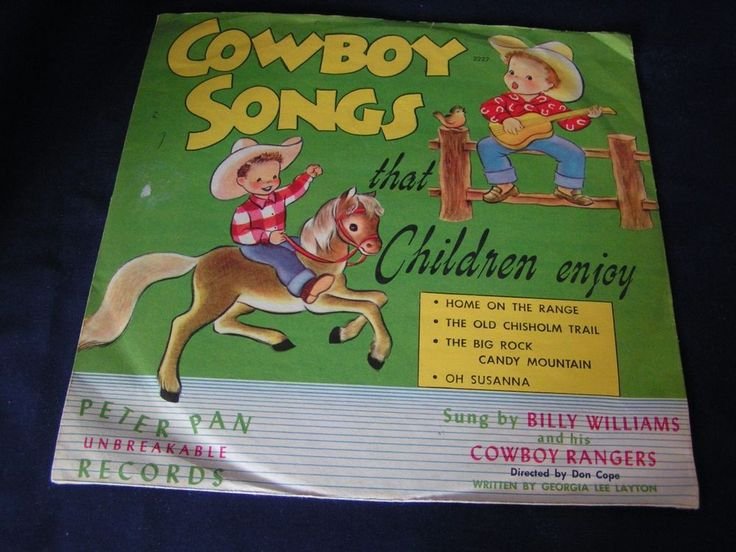 "Vintage Children's Record ""Cowboy Songs"" by Peter Pan Records -Sung by Williams 