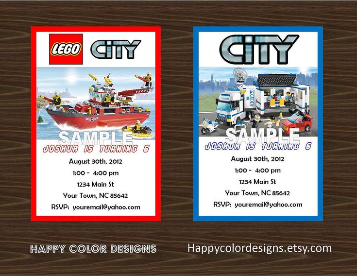 Lego City Invitation