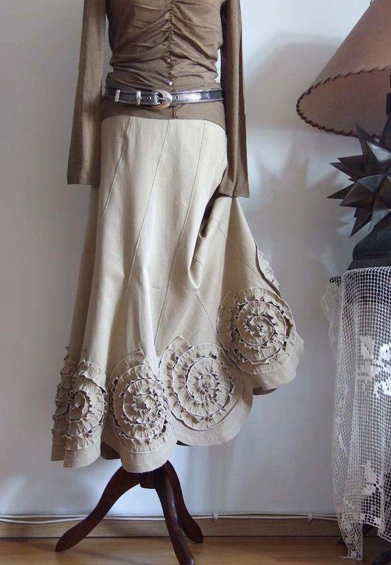 Джинсовая юбка с розетками