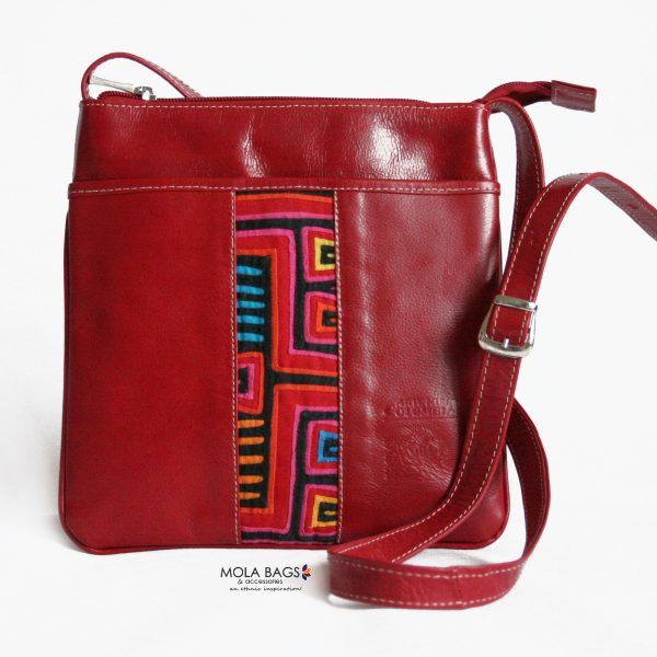 LEATHER CROSS-BODY BAG – RED STRIPES