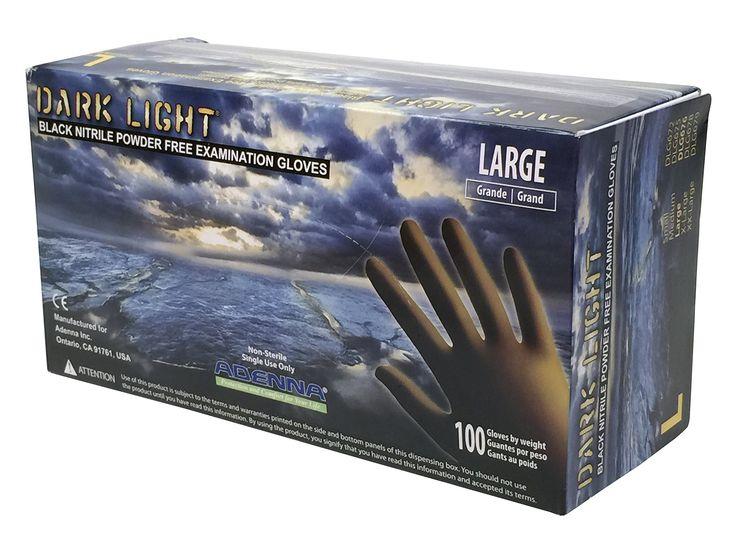 Adenna DLG676 Dark Light 9 mil Nitrile Powder Free Exam Gloves (Black), Large - Box of 100