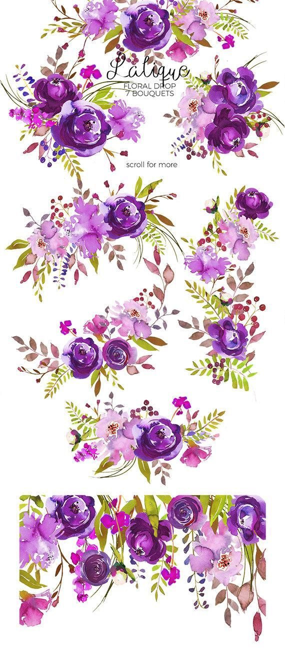 Purple Peonies Roses Clipart Watercolor Floral Bouquets Violet