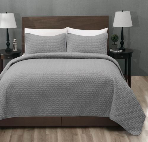 Madison Quilted Bedspread Set Light Grey Coverlet Weight Bed Cover In Home