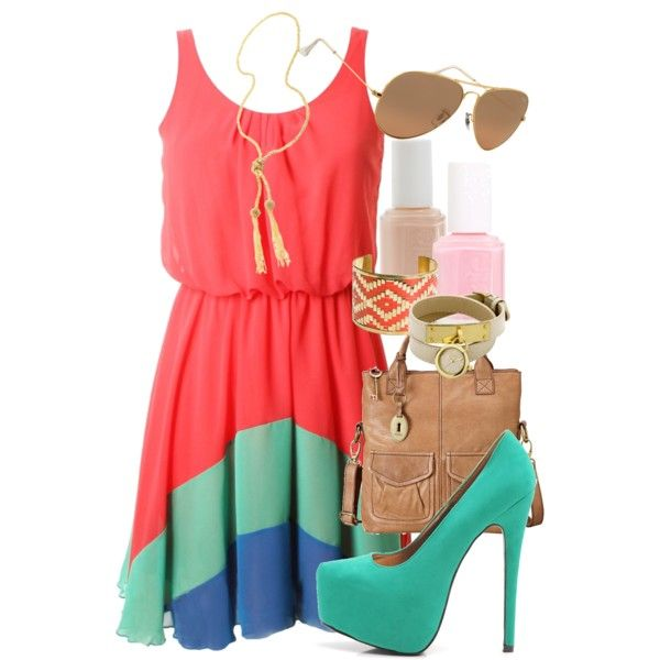 : Warm Color, Summer Outfit, Crazy Shoes, Color Combos, Color Blocks, Summer Color, The Dresses, Summer Night, Summer Clothing