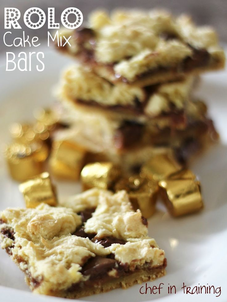 Rolo Cake Mix Bars! Only 4 ingredients making them so easy to make and they taste great!